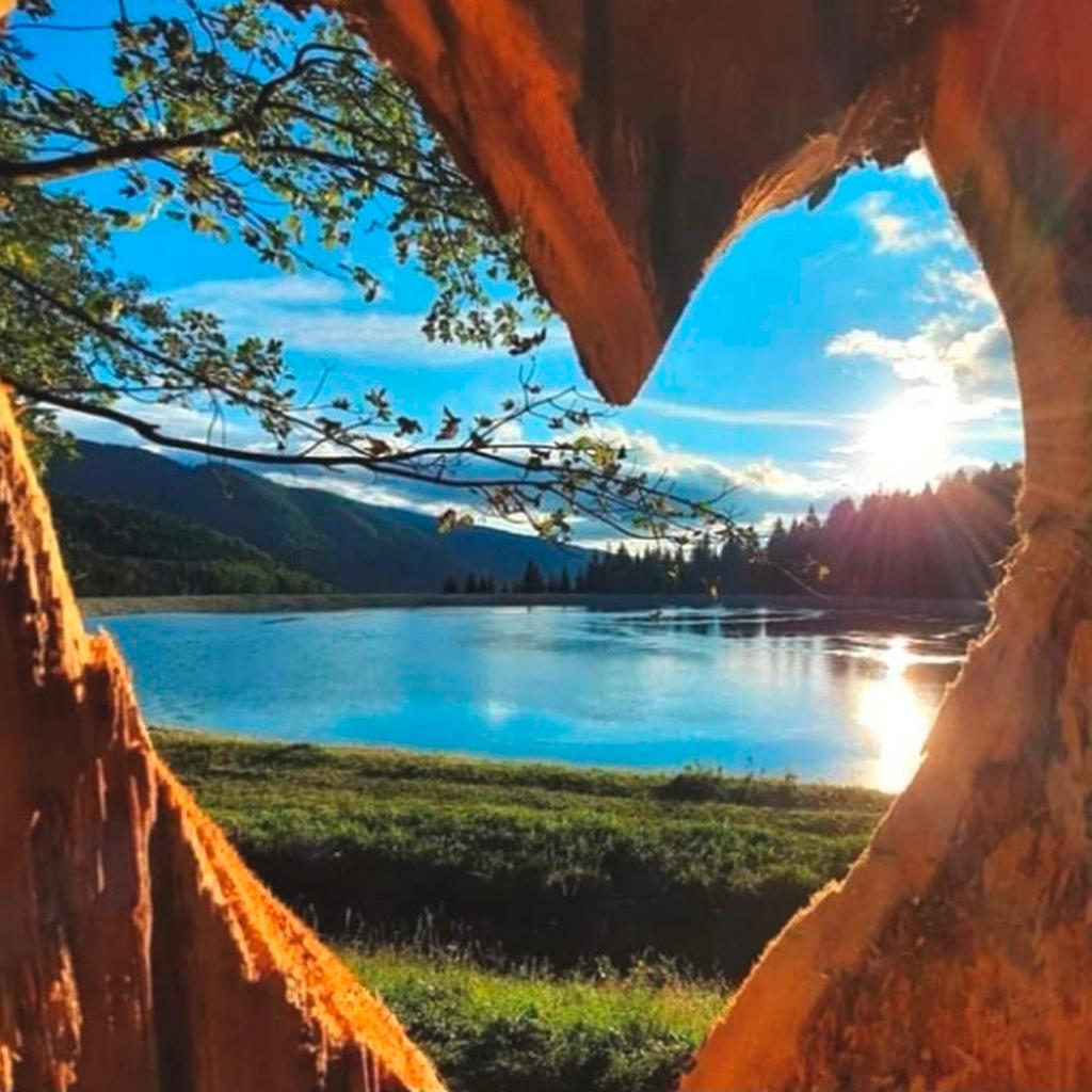 Aussicht auf einen See durch einen in Herzform geschnittenen Baum